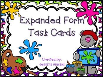 Expanded Form Task Cards and Worksheet