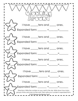 expanded form tens and ones  Expanded Form: Tens and Ones Only ( Clown Theme)