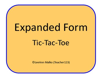 Expanded Form Tic-Tac-Toe