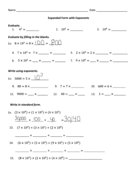 expanded form using exponents worksheets  Expanded Form With Exponents