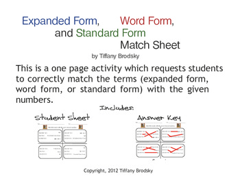 Expanded Form, Word Form, and Standard Form Match Math Sheet with Answer Key