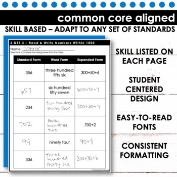 Expanded Form, Word Form and Standard Form for Numbers Within 1000