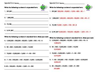 Expanded Form Worksheet