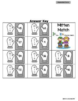 Expanded Form Worksheet - Mitten Match