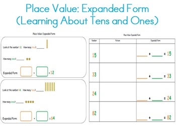 Place Value Expanded Form (Tens & Ones) for Kindergarten, 7st, 7nd, 7rd  Grade