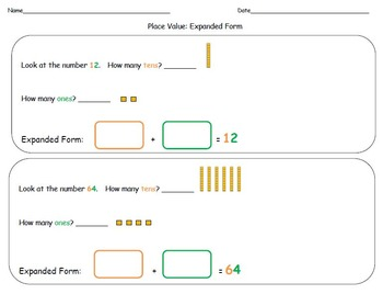 Place Value Expanded Form (Tens & Ones) for Kindergarten, 1st, 2nd, 3rd Grade