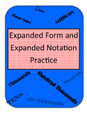 Expanded Form and Expanded Notation Practice Cards
