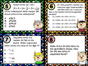 Expanded Form and Expanded Notation Task Cards