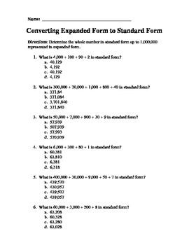 Expanded Form and Standard Form Practice Packet
