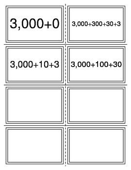Expanded Form to Standard Form Task Cards (TEKS 2.2A)