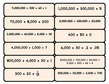 Expanded Form to Standard Number MATCH (ones through millions)
