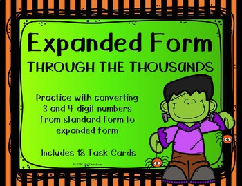 Expanded Form with 3 and 4 Digit Numbers {Halloween Theme}