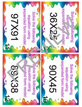 Expanded Model Multiplication Task Cards