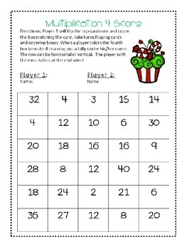 Holiday Multiplication 3 Games with Record Sheets