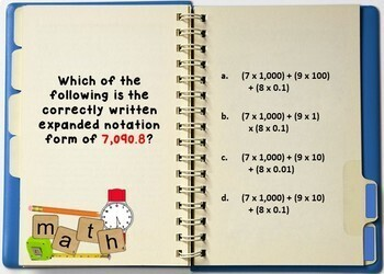Expanded Notation - Digital Practice BOOM Cards - 24 Self-checking cards!