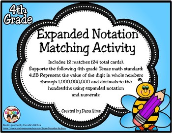 Expanded Notation Matching Activity (TEKS 4.2B) STAAR Practice
