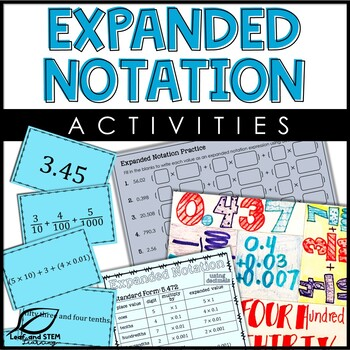 Expanded Notation of Decimals Center and Interactive Notebook