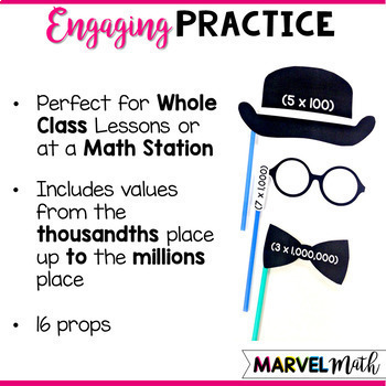 Expanded Notation Photo Booth Props  *TEK: 4.2B*  by Marvel Math