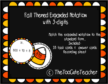 Expanded Notation Practice Task Cards: Fall Themed