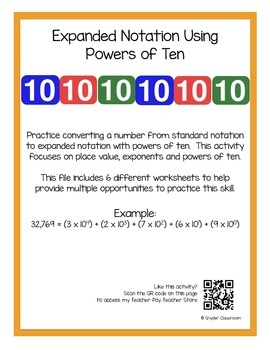 Expanded Notation Using Powers of Ten Worksheets