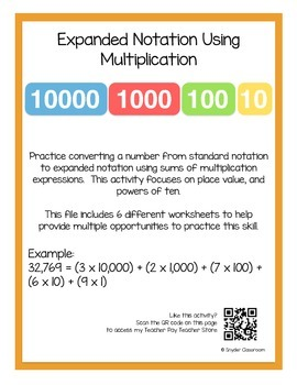 Expanded Notation Using Multiplication