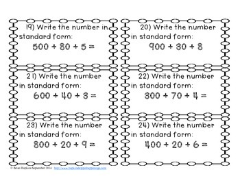 Expanded Notation to 1,000 Task Cards