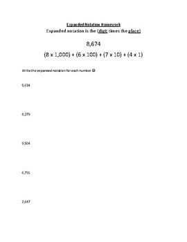 Expanded Notation to the Thousands Homework