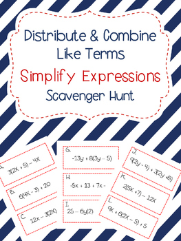 Simplify Expressions Scavenger Hunt