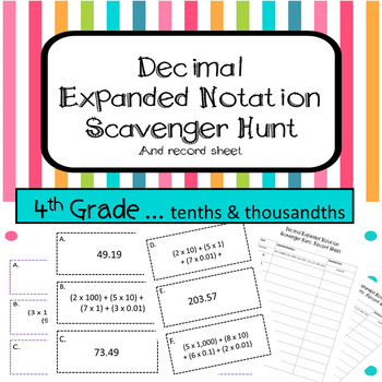 Expanded Notation with Decimals Scavenger Hunt TEKS 4.2B