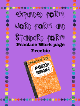 Expanded, Standard, Word Forms ; Number forms