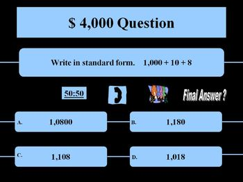 Expanded, Standard, and Word Form Powerpoint : Who Wants to be a Millionaire?