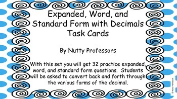 Expanded, Word, and Standard Form Decimal Task Cards