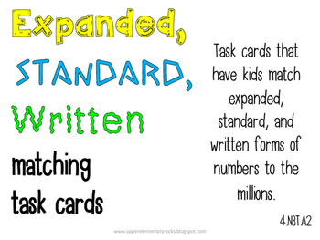 Expanded/Written/Standard Form task cards