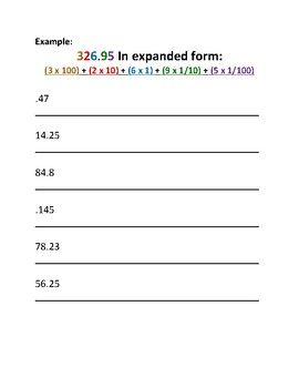 Expanded and Standard Form