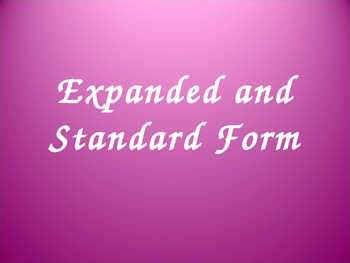 Expanded and Standard Form Practice