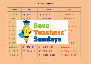 Expanded column addition lesson plans, worksheets and othe