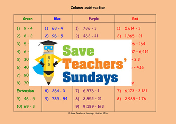 Expanded column subtraction lesson plans, worksheets and o