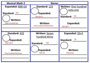 Expanded form, Standard form, Written form, Musical Math Game
