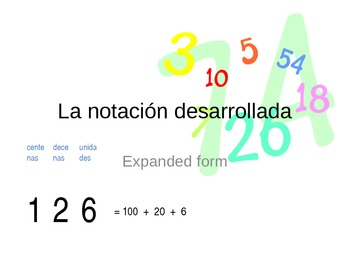 Expanded form in Spanish 1st grade math