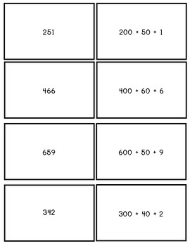 Expanded form memory game-hundreds