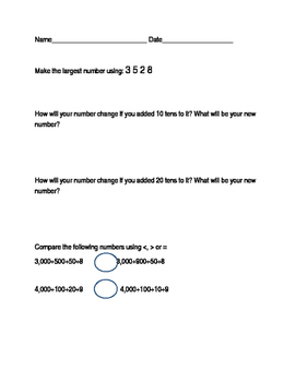 Comparison of Numbers- Expanded form of numbers worksheets Differentiated