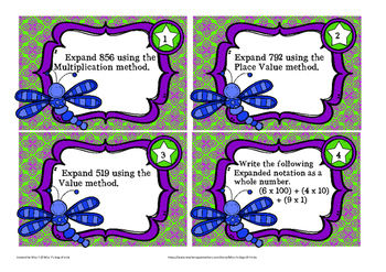 Expanded notation Task cards