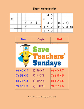 Expanded short multiplication worksheets (3 levels of difficulty)