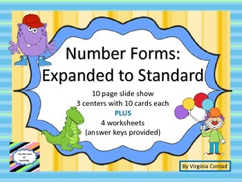 Expanded to Standard Form--4 digits--slide show/centers/worksheets