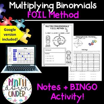 Expanding Binomials FOIL Method- Notes, Doodle, Organize