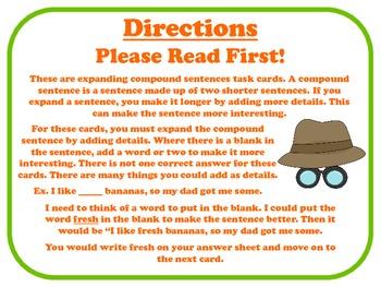 Expanding Compound Sentences Task Cards for Journeys Grade 2