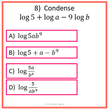 Expanding And Condensing Logarithms Worksheet  Expanding ...