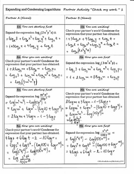 """Expanding & Condensing Logarithms - Partner Activity """"Check my work"""" (solutions)"""