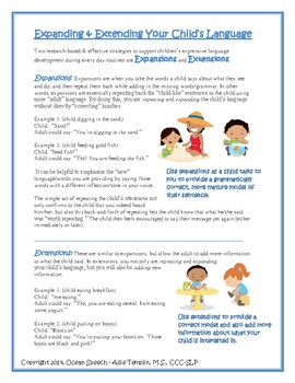 Expanding & Extending Your Child's Language - Expressive Language Handout Parent