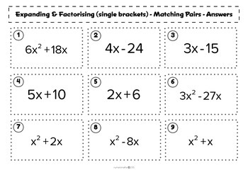 Expanding / Factorising (Single brackets) - matching activity - algebra - math